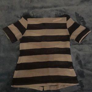 Gray & black striped sheer blouse
